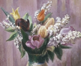 Tulips and Spirea (or Spring Flowers in Pineapple Pitcher)